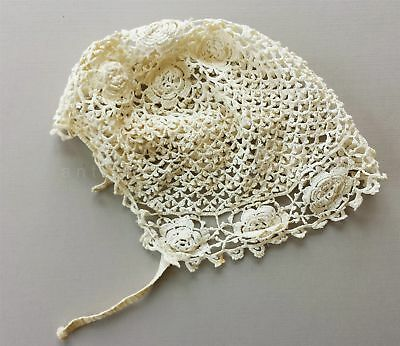 1900s antique HAND MADE CROCHET BABY BONNET lace child cap cotton roses flowers