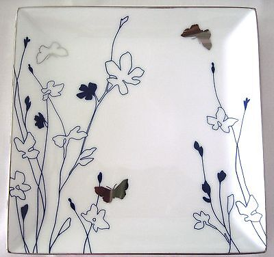 Charter Club Grand Buffet Blue Silhouette Square Salad Accent Plate Dish