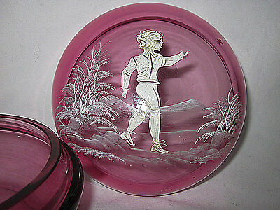 "5"" BOHEMIAN MARY GREGORY CRANBERRY GLASS POWDER BOX JAR Czech trinket jewelry"