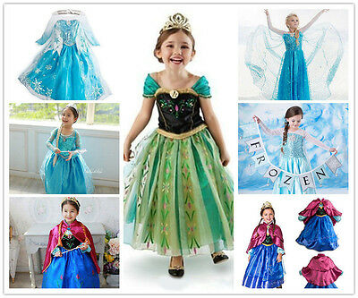 Hot FROZEN Princess-Anna-Elsa Cosplay Costume Birthday-Party Formal Dress 2-8Y