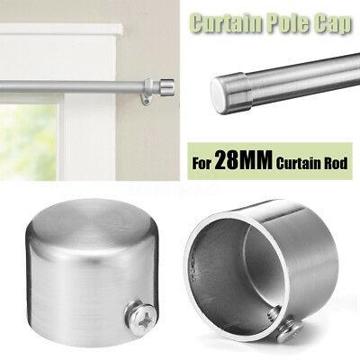 1~2Pcs 28mm Stainless Steel Chrome Window Curtain Rod Pole Finials End Track Cap