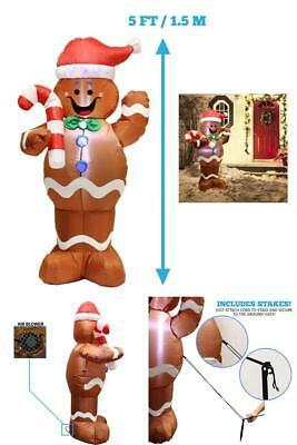 5ft Self Inflatable Lighted Gingerbread Man Christmas  Decoration Holiday Decor