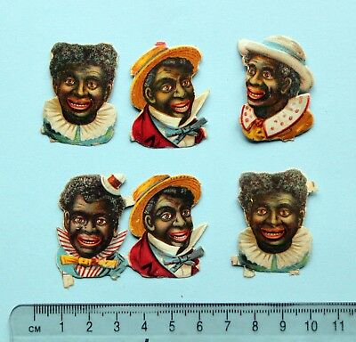 6 X Victorian Die Cut Embossed Scraps Black People Heads Hats Bows