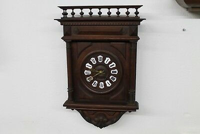 Antique Old Big Massive Charming Wooden Wall Clock with Key and Pendulum.