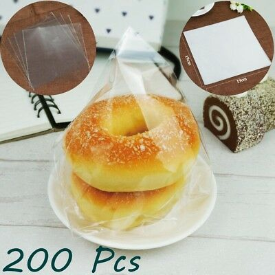 Clear Open End Poly Plastic Bag Bakery Bread Cookie Cupcake Cake Cellophane 200x
