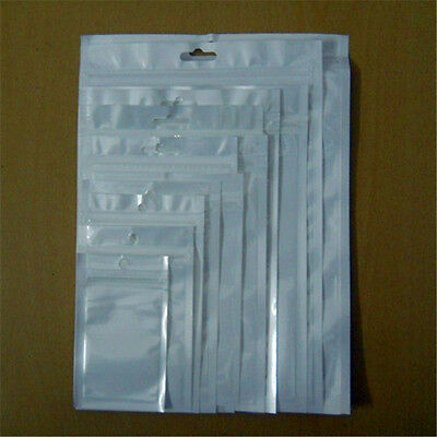100x Zip Lock White Clear Plastic Bags Resealable Hang Hole Pouch For Accessory