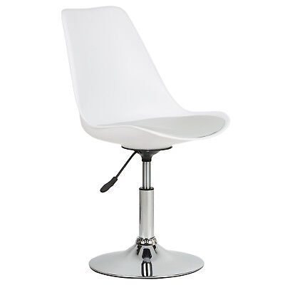 Hartleys Grey & White Seat Swivel Desk Reception Comfy Dining Chair Static Base