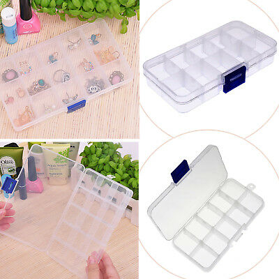 Clear Jewelry Bead Organizer Box Storage Container Case Display Compartment