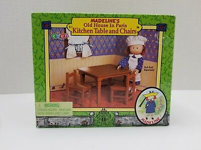 """NEW MADELINE'S OLD HOUSE IN PARIS DOLL FURNITURE 8"""" Kitchen Table & Chairs EDEN"""