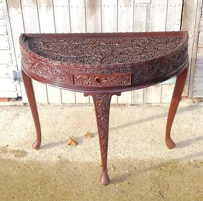 Chinese Carved Hardwood Half Moon Table