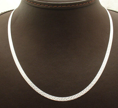 Reversible Fox Tail Textured Herringbone Chain Necklace Solid Sterling Silver