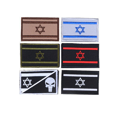 Israel Flag Embroidered Skull Military Army Morale Hook Badge Patch Armband Gift