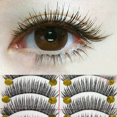 10 Pair Handmade Curl Thick Cross False Fake Eyelashes Eye Lashes Makeup