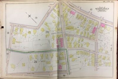 Orig 1889 Roxbury, Boston, Ma, Dennis St. Park, Mt. Pleasant School, Atlas Map
