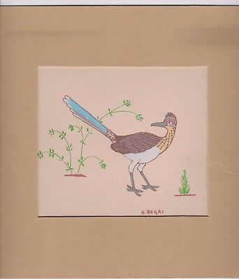 "Harrison Begay(Navajo Artist) 6""x 8"" Numbered Silk Screen Bird Print (#246)"