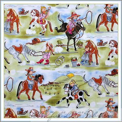 BonEful Fabric FQ Cotton Quilt HORSE PONY 3D Camp Ranch Cow*girl Farm Girl Scout