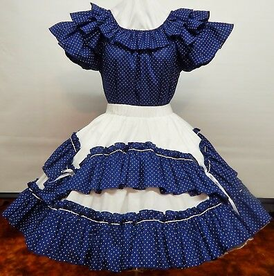 2 Pc Navy & White Dotted Square Dance Dress