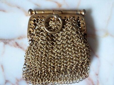 Antique French Gilt Gold Small Chain Chatelaine Coin Purse