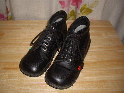 Ladies / Older Girls Black Kickers Leather Hi Ankle Boots Size 3 School  College