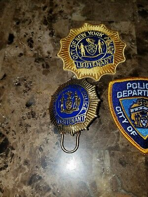 OBSOLETE POLICE BADGE ny lt  Jacket patch hat patch lot of 3 estate sale