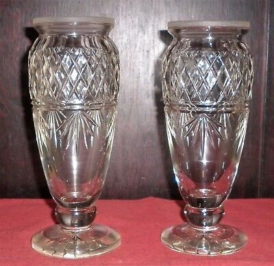 Fine Pair Edwardian Etched Crystal Vases Great Condition