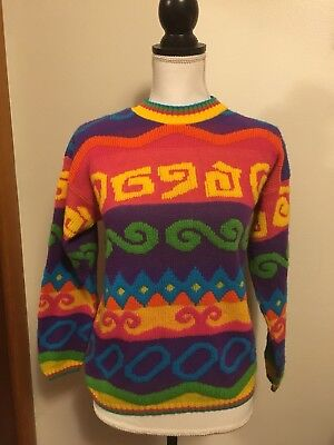 Funky 80s 90s Girls Multi Color Sweater Shirt 10/12