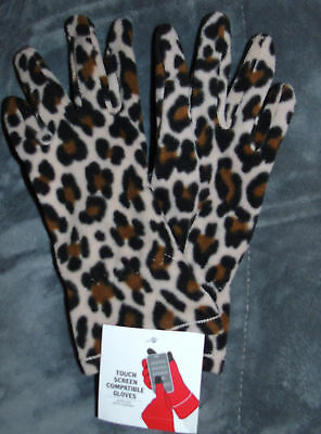 NWT WOMEN LEOPARD  Fleece Winter Gloves TOUCH SCREEN COMPATIBLE One Size Stretch