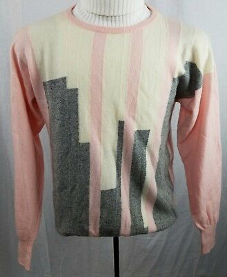 Vintage Pringle of Scotland cashmere pullover color block light pink sweater M