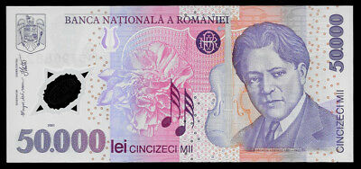 World Paper Money - Romania 50000 Lei 2001 Polymer Note @ Crisp UNC