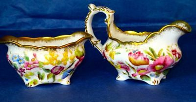 Hammersley & Co Exquisite QUEEN ANNE Hand Painted Flowers Cream & Sugar Bowl