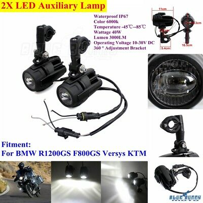 Motorcycle LED Black Auxiliary Fog Spot Driving Light Lamp For BMW R1200GS F800G