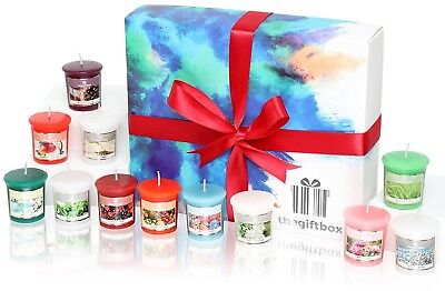 Premium Scented Candle Gift Set Containing 12 Colourful Fragranced Candles in a