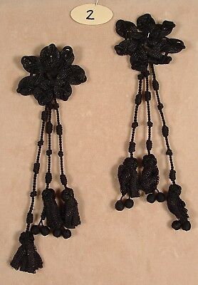 """2nd PAIR 8"""" BLACK ANTIQUE UNIQUE FLOWER-LIKE TASSELS WITH BALLS"""