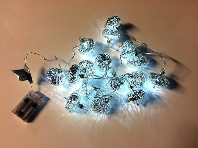 x16 Christmas Mini Lantern Fairy Lights White DEL Battery - 2.45m Clear Wire