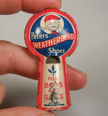 Vintage Peters Weatherbird Shoes Advertising Tin Litho Whistle