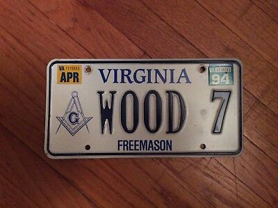 Virginia License Plate, Freemason Specialty Plate WOOD 7 1994