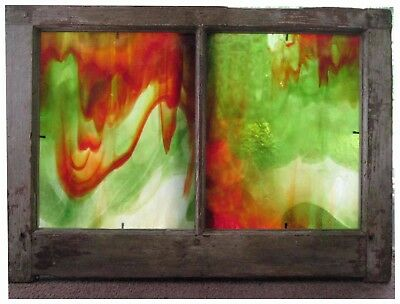 Stained Glass Window Antique Pine Frame Double Panel Green & Rust Marbleized