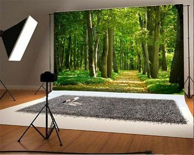 Forest Green Trees 5x3ft Photo Backdrops Baby Vinyl Photography Backgrounds Prop