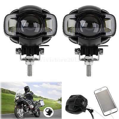 Pair Motorcycle LED Auxiliary Spot Driving Fog Lamp Lights DRL For BMW R-1200G