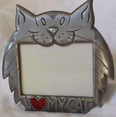 """I Love/Heart My Cat/s"" Small Picture Frame Pewter Gray Metal Red Sparkle Enamel"