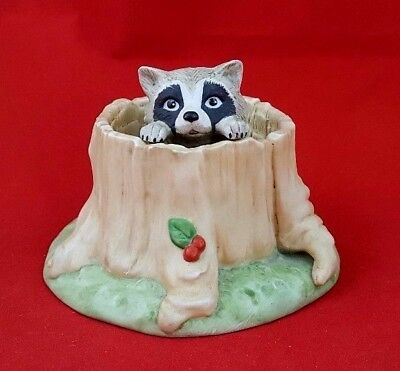Hand Painted Porcelain Raccoon Figurine Hiding In A Hollow Tree
