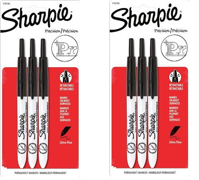 Sharpie Retractable Permanent Markers Ultra Fine Point Black 2 Packs of 3