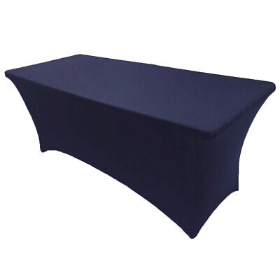 6' ft. Spandex Fitted Stretch Tablecloth Table Cover Wedding Banquet Navy Blue