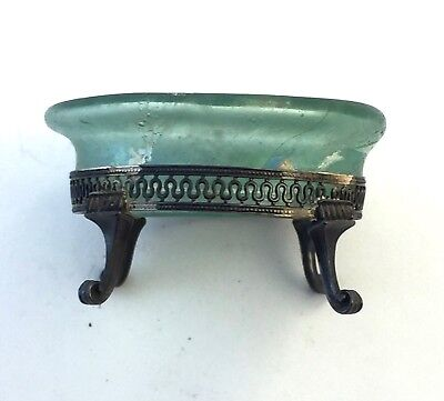 Ancient Roman Glass Salt Dish On Sterling Silver Base