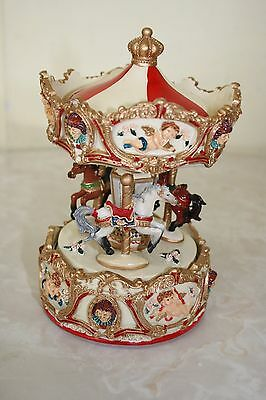 Magic Wind-Up Carousel/merry Go Round Music Box Horses Br New- Tune Be A Clown