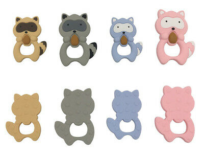 Silicone Racoon Teether Baby Teething Safe Necklace Autism Sensory Soothe Dummy