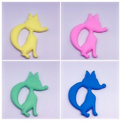 Silicone ring Fox teether baby teething safe necklace beads pram dummy Soother