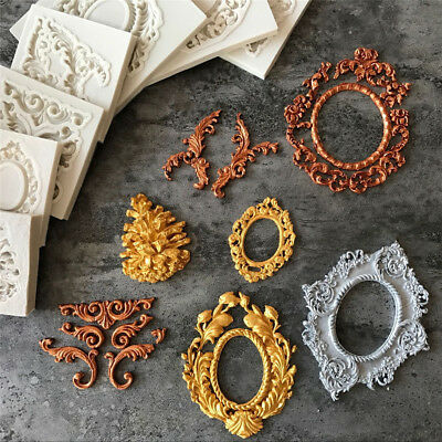 European Antique Mirror Frame Pastry Fondant Cake Mold Silicone Border Embossing