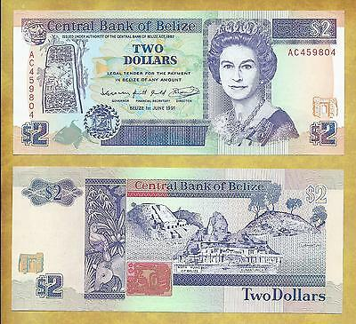 Belize 2 Dollars 1991 Unc P-52b Prefix AC Currency Banknote  ***USA SELLER***