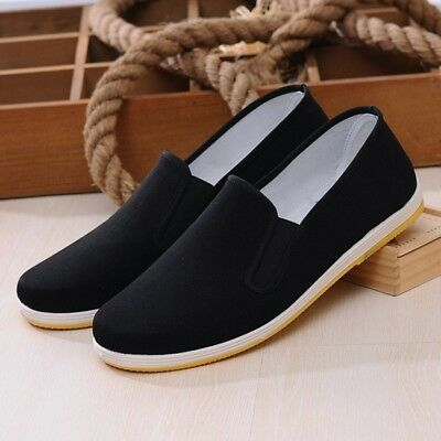 Men Chinese Kung Fu Espadrille Slipper Shoes Flat Martial Arts Tai Chi Black SZ